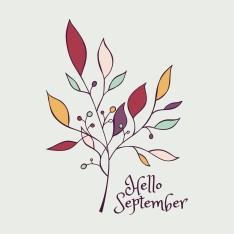Vector Hand Drawn Floral Illustration. Hello September